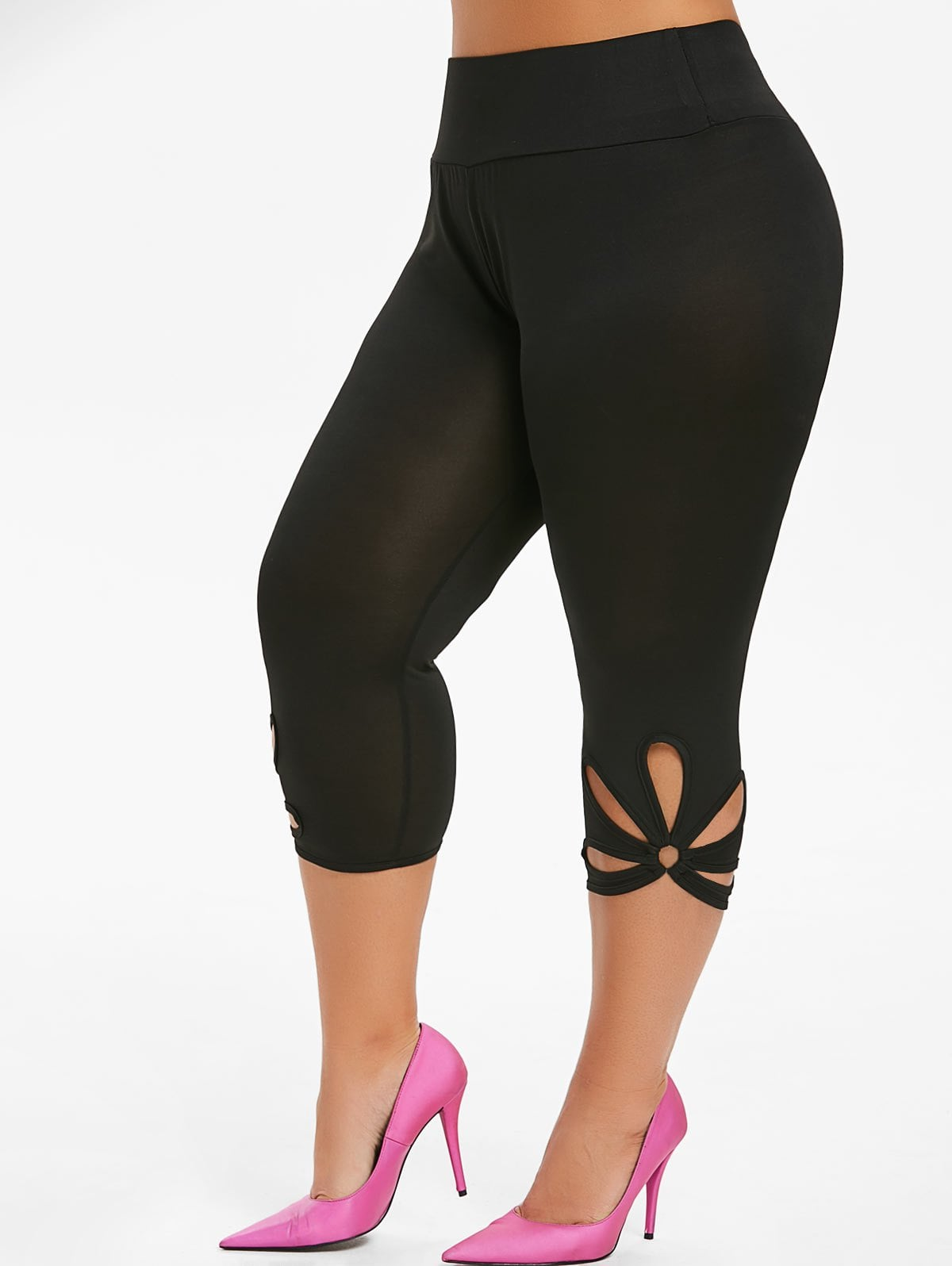 Capri Metal Ring Cut Out Plus Size Leggings