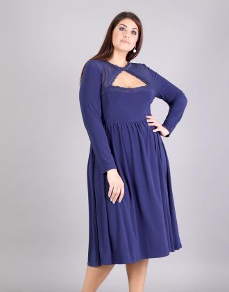Κλός μίντι φόρεμα για μεγάλα μεγέθη σε ζέρσεϊ με άνοιγμα εμπρός και σιφόν  δίχτυ.Το 321b0f93e95