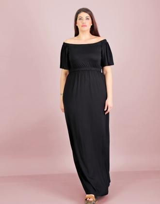 3564c328cd4f Έξωμο μάξι φόρεμα για μεγάλα μεγέθη σε ελαστικό ζέρσεϊ.Το μοντέλο φοράει   XLΎψος μοντέλου
