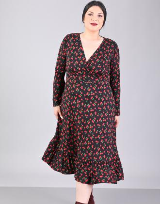2bc53813ae2d Κλος κρουαζέ φόρεμα για μεγάλα μεγέθη με καμπάνα μανίκι και τύπωμα  κερασάκια