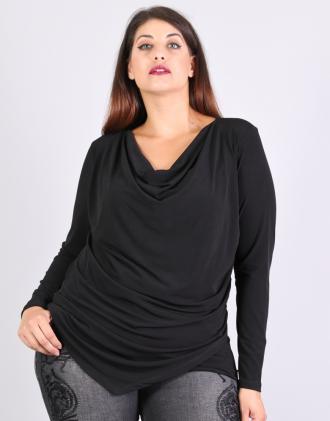 Μπλούζα για μεγάλα μεγέθη με ντραπέ λαιμό 927d08ffa79