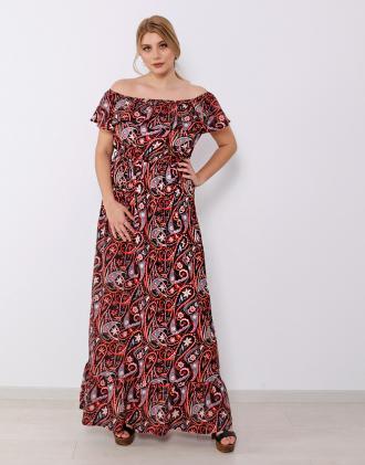 6b68f66046d3 Plus size μάξι έξωμο υφαντό φόρεμα με βολάν και λάστιχο στη μέση