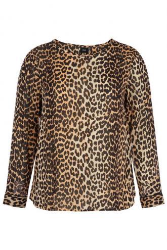 e37aa6783b4d Ημιδιαφανής μπλούζα Leopard χρώμα Διαθέτει μακριά μανίκια με κούμπωμα  Κουμπάκια στο πίσω μέρος Κλειστή λαιμόκοψη Ασύμμετρη