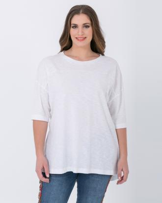 b3dfeb8531bb Βαμβακερή μπλούζα με μανίκι 3 4 (Λευκό