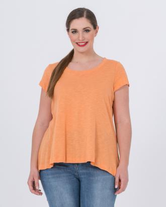 4a46fdc68231 Βαμβακερή μπλούζα με στρογγυλή λαιμόκοψη (Ροδακινί