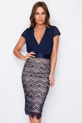 a3140bdc047 sophisticated coctail φόρεμα fine lace Chloe navy