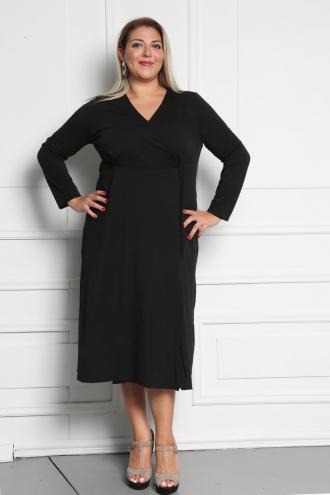 af599d625b3f Φόρεμα midi κρουαζέ σε ελαφρώς άλφα γραμμή με μακρύ μανίκι. Σύνθεση  95%POL