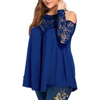 Solid Color Hollow Out Off Shoulder T Shirt