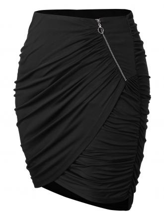 Plus Size Zipper Asymmetrical Ruched Skirt