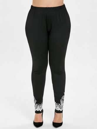 Cut Out Plus Size Printed Leggings