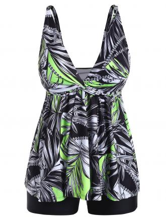 Twist Plus Size Leaf Print Tankini Set