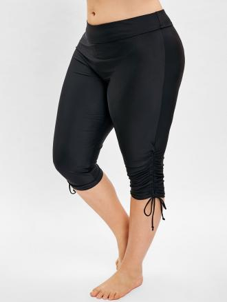Side Drawstring Plus Size Knee Length Swim Pants