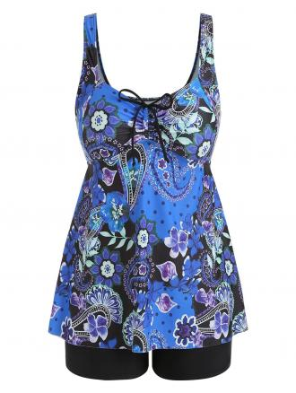 Plus Size Flower Tankini Sets