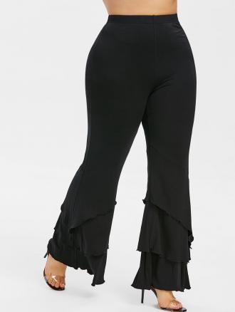 Plus Size Layered Bell Bottom Pants