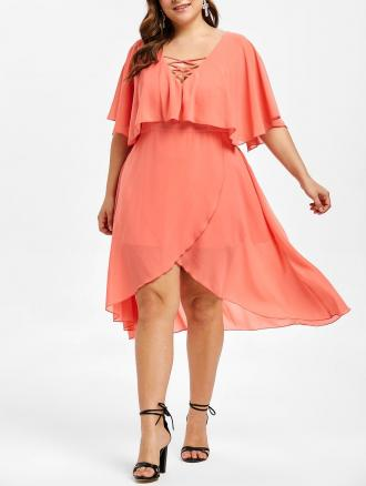 Flounce Lattice Plus Size Asymmetrical Dress
