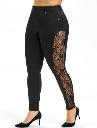 Side Lace Plus Size Skinny Pants