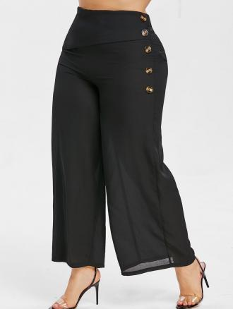 Plus Size Button Embellished Palazzo Pants