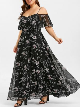 Plant Print Flounce Plus Size Maxi Dress