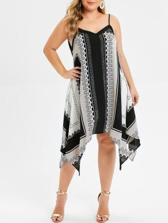 Plus Size Tribal Print Asymmetrical Cami Dress
