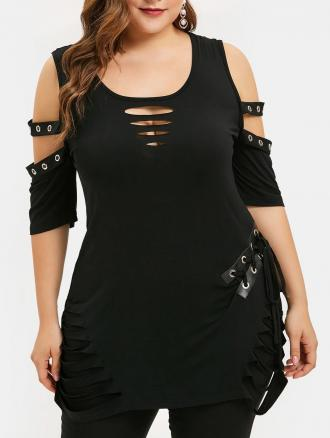 Open Shoulder Lace Up Plus Size Ripped T-shirt