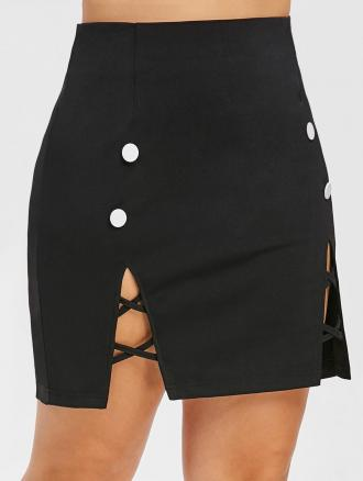 Criss Cross Plus Size Button Detail Skirt
