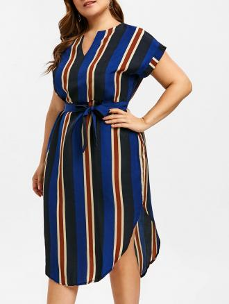Striped Belted Plus Size Midi Dress