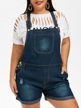Ripped Cuffed Plus Size Denim Overalls