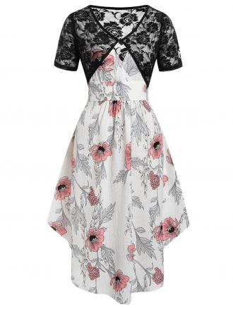 Plus Size Floral Midi Dress With Lace Top Twinset