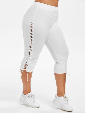 Plus Size Lace Up Capri Leggings