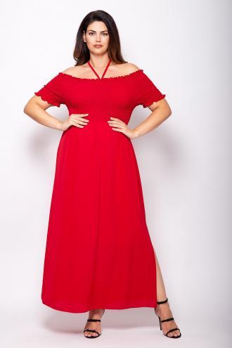 5d4e4ed1eb0e Maxi φόρεμα από κρεπ ύφανση με σφηκοφωλιά στο μπούστο. Σε σχέδιο που  αποκαλύπτει τους ώμους