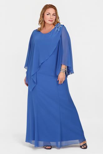 c5f8a5a1e63 Mάξι φόρεμα από chiffon, φοδραρισμένο. Διακοσμημένο με μπουτονιέρα σε  σχέδιο λουλούδι με στρας.