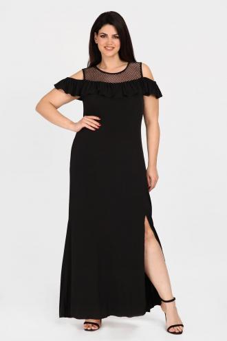 1f7d03532c41 Maxi cold-shoulder φόρεμα με ελαστικότητα και σκίσιμο στο πλάϊ. Με  λεπτομέρειες από δίχτυ