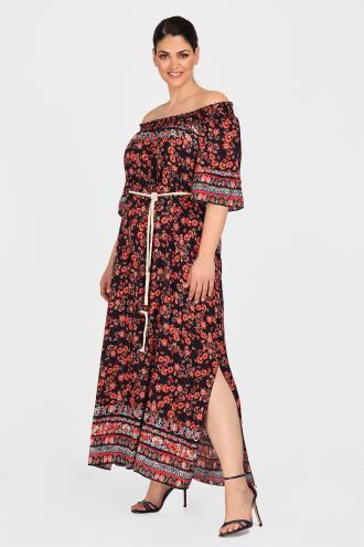 d0c7a7f2356a Midi φόρεμα από 100% ανάλαφρη βισκόζη σε φλοράλ μοτίβο. Ελαστικό ντεκολτέ  και 3