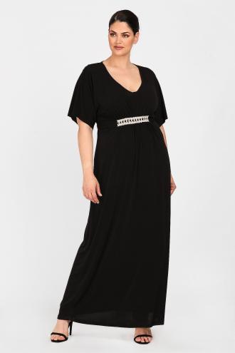 6a85b144bf4 Μίντι φόρεμα από ελαστική βισκόζη. V βαθύ ντεκολτέ και 2/4 αέρινα μανίκια.