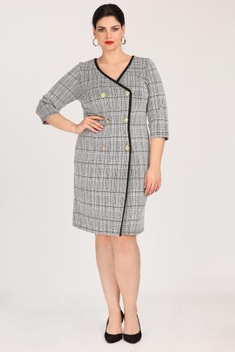 e2d52b4cc15 Φόρεμα midi σε καρό ύφανση πρενς ντε γκαλ, ίσια γραμμή κι άνετη εφαρμογή. Με