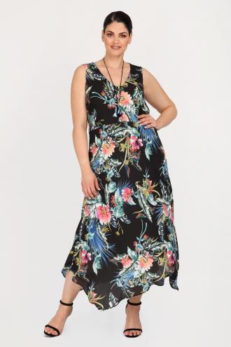 8ec1274418b2 Μάξι φόρεμα σε φλοράλ μοτίβο από αέρινη ζωρζέτα