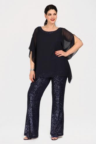6cace0f7d7ae Αμπιγιέ μπλούζα και παντελόνι σε ίσια γραμμή. Η μπλούζα είναι από chiffon