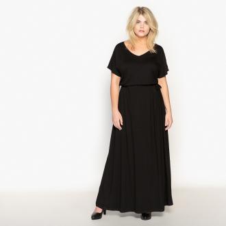 5918ac09753c Μακρύ φόρεμα με κοντά μανίκια. Λαιμόκοψη V. Ρυθμιζόμενη ζώνη. Μήκος πίσω  140 εκ
