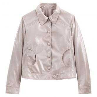 A pretty short jacket in ultra feminine faux leather. This is bang on-trend with front button fastening and a classic collar. This short faux leather jacket will work well with a short skirt or trousers.Product details - Length: short - Classic collar - Button fasteningFabric content and care advice - 100% polyester - Machine washable at 30°C on a delicate cycle - Do not iron. Do not bleach. - Do not tumble dry - Do not dry cleanProduct description - Length: 57.8cm for size 10