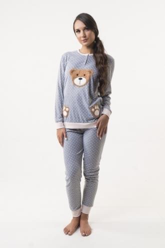 Βαμβακερή Πυτζάμα Homewear Teddy Grey 96682c797e6